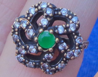 PS, SALE, Vintage Art Deco Style Rose Gold/925 Sterling 0.75ctw Emerald & White Sapphire Ring 4.8g