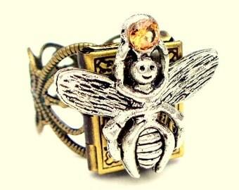 SALE, Steampunk Locket Ring