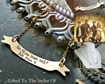 As Seen On The Hart Of Dixie -  - Gold Banner Necklace - Hand Stamped Gold Necklace