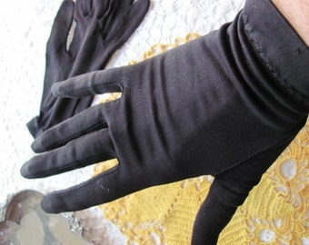 "Soft Vintage Black Stretch Nylon Wrist Gloves 9"" Inches Long"