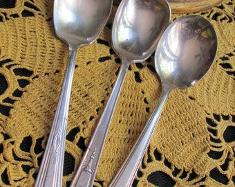 3 Antique Silver Plate Sugar Spoons - Assorted Patterns