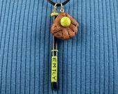 Softball Pendant Necklace, Personalized Bat, Softball Jewelry, Custom Name, glove, Softball Mom Gift, Black and Yellow Bat, Polymer Clay