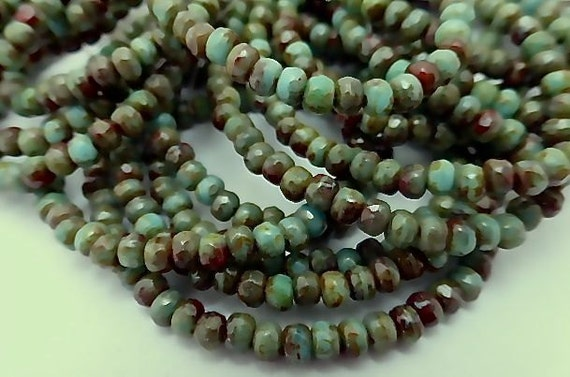 100 Czech Glass Fire Polish Roundels Opaque Green Turquoise and Brown with Picasso  2x3mm