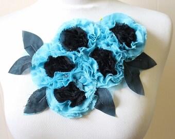 Cute embroiderd  chiffon  flower    applique   1 pieces listing