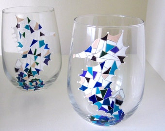 2 Seahorse Mosaic Hand Painted Wine Glasses in Jewel Tones