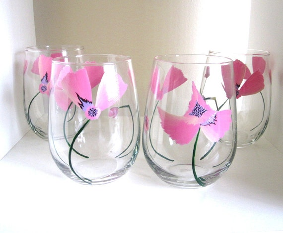 Pastel Poppy- Hand Painted Wine Glasses - Set of 4 - Stemmed or Stemless