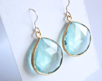 Blue Aquamarine Quartz Gold Vermeil Earrings