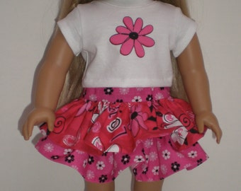 Pink, Red, & Black Ruffled Skirt Tee Shirt 18 inch doll clothes