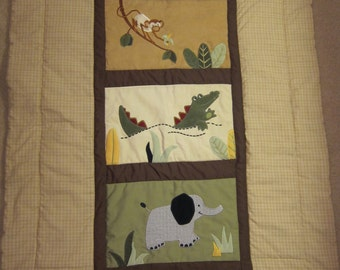 Elephant, Alligator and Monkey on Brown Gingham (Baby Quilt)-QuiltsbyShirley