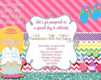 Spa Party Invitation 4 Spa Girls -Digital File