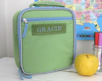 Lunchbox With Monogram Upcycled Pottery Barn (Fairfax) --Green/Blue