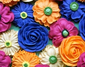 Cupcake or Cake Topper- Flower Bouquet-  Made from Royal Icing- 4 Styles of Large Flowers (24)