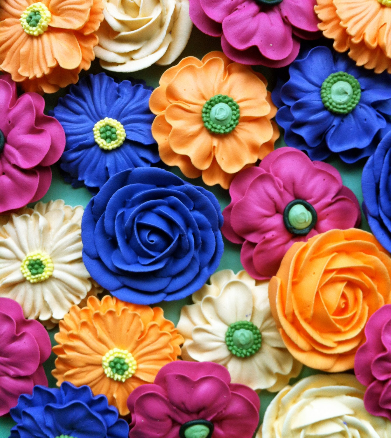Cupcake or Cake Topper Flower Bouquet Made from Royal