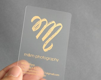 Business calling cards etsy il 200 business cards frosted plastic stock with gold or silver metallic foil free reheart Choice Image