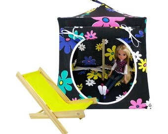 Toy Pop Up Tent, Sleeping Bags, black, flower print fabric for dolls & stuffed animals