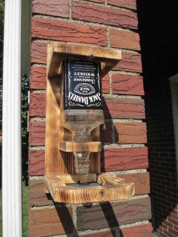 Wood Bird Feeder Upcycled Whiskey Liquor Bottle Jack
