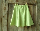 womens fleece skirt //  cozy & warm fall, winter skirt in celery green // size