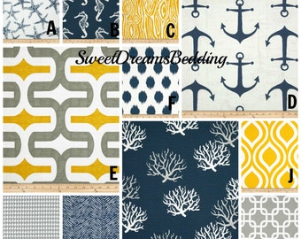 Custom Crib Bedding You Design   Bumper and Bedskirt in Navy,Yellow and Gray