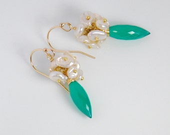 Grade AAA green onyx and fresh water pearl dangle earrings, with vermeil ball pins and 14K gold filled ear wires