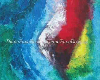 "Tropical Storm 5x7 Signed Print w/2"" Border - Contemporary Ocean Art, Masthead, Nautical, Impressionism, Jewel Tones,Stormy Weather, Texture"