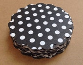 "50 Scallop Edged 2.5"" Paper Circles Black and White Polka Dots"