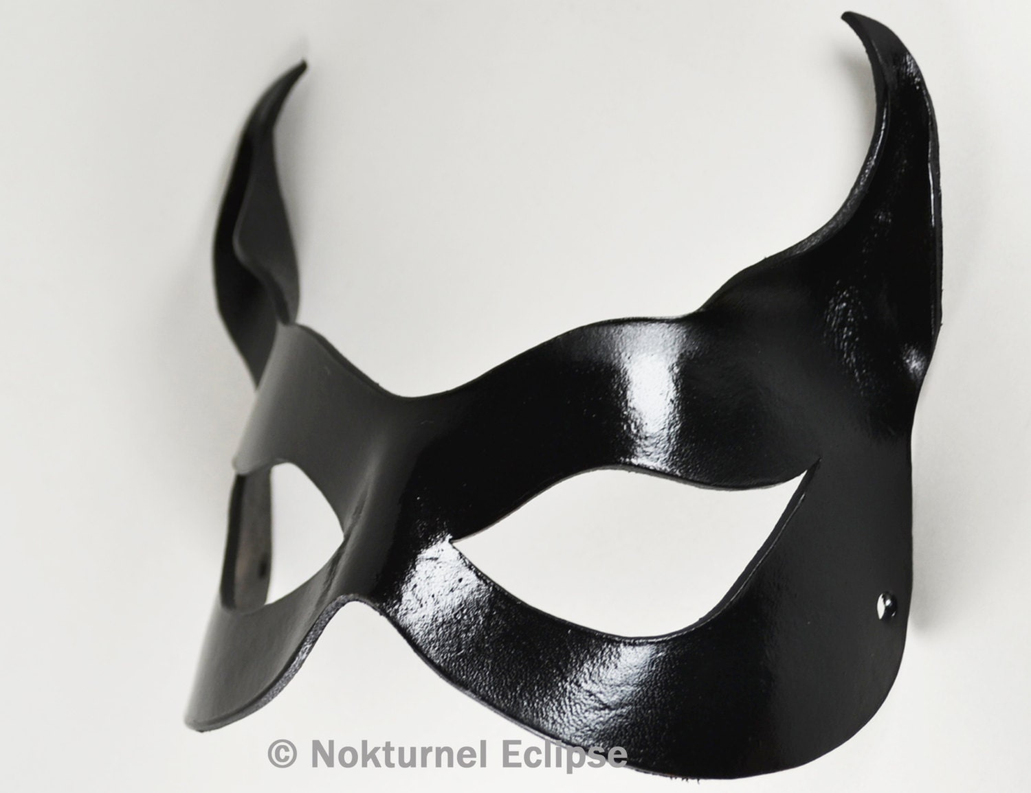 Black Catwoman Leather Mask With Little Cat By