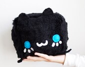 Black Cat Plush - Kawaii Plushie , Cute Stuffed Animal, Children Softie, Children's Toy, Decorative Pillow, Cushion, Christmas Gift
