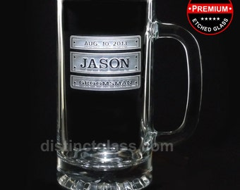 Wedding Gifts for Best Man - TRIPLE PLATE BEER Mugs - 16 oz Etched Glass Wedding Beer Mugs - Groomsmen Gifts - Ships to Canada