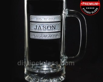 Gifts for Groomsman - TRIPLE PLATE BEER Mugs - 16 oz Etched Glass Wedding Beer Mugs - Ships to Canada