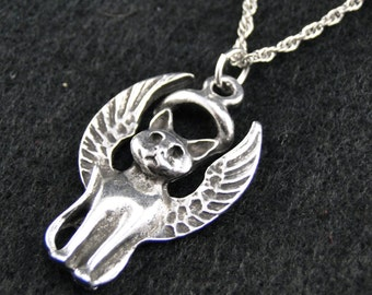 Cat Guardian Charm Necklace - Silver Plated Charm on 18 inch silver rope chain