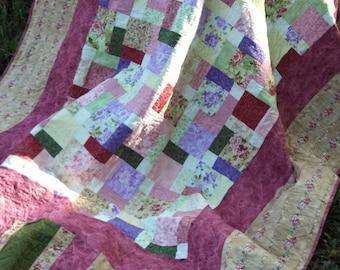 Twin Bed Quilt Romantic Florals Scrappy