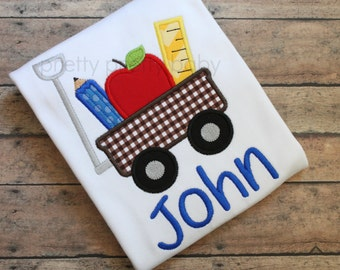 pretty fun back to school wagon appliqué shirt