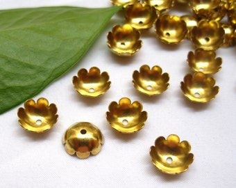 30pcs 10mm Round Flower Bead Caps Raw Brass Findings for Jewlery Making & Repair ca013