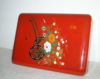 Vintage, Asian keepsake box of heavy plastic