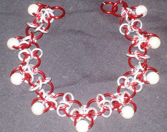 Chainmaille Anklet, Red with Silver Glitter Beads, Elfweave Adapt