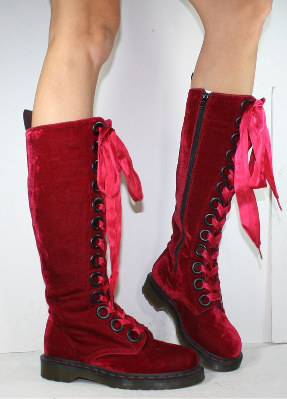 Vintage Velvet Berry Red Ribbon Grunge Granny Combat Boot