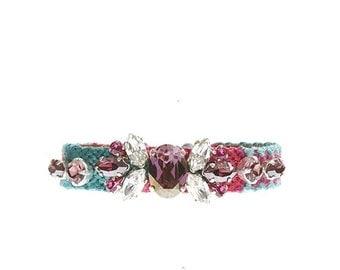 Crystal embroidered friendship bracelet in pink and green - Swarovski crystal bracelet - embellished friendship bracelet - embellished cuff