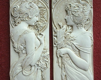 Mucha style art nouveau style/ art deco style/ wall plaques in cream, silver or bronze