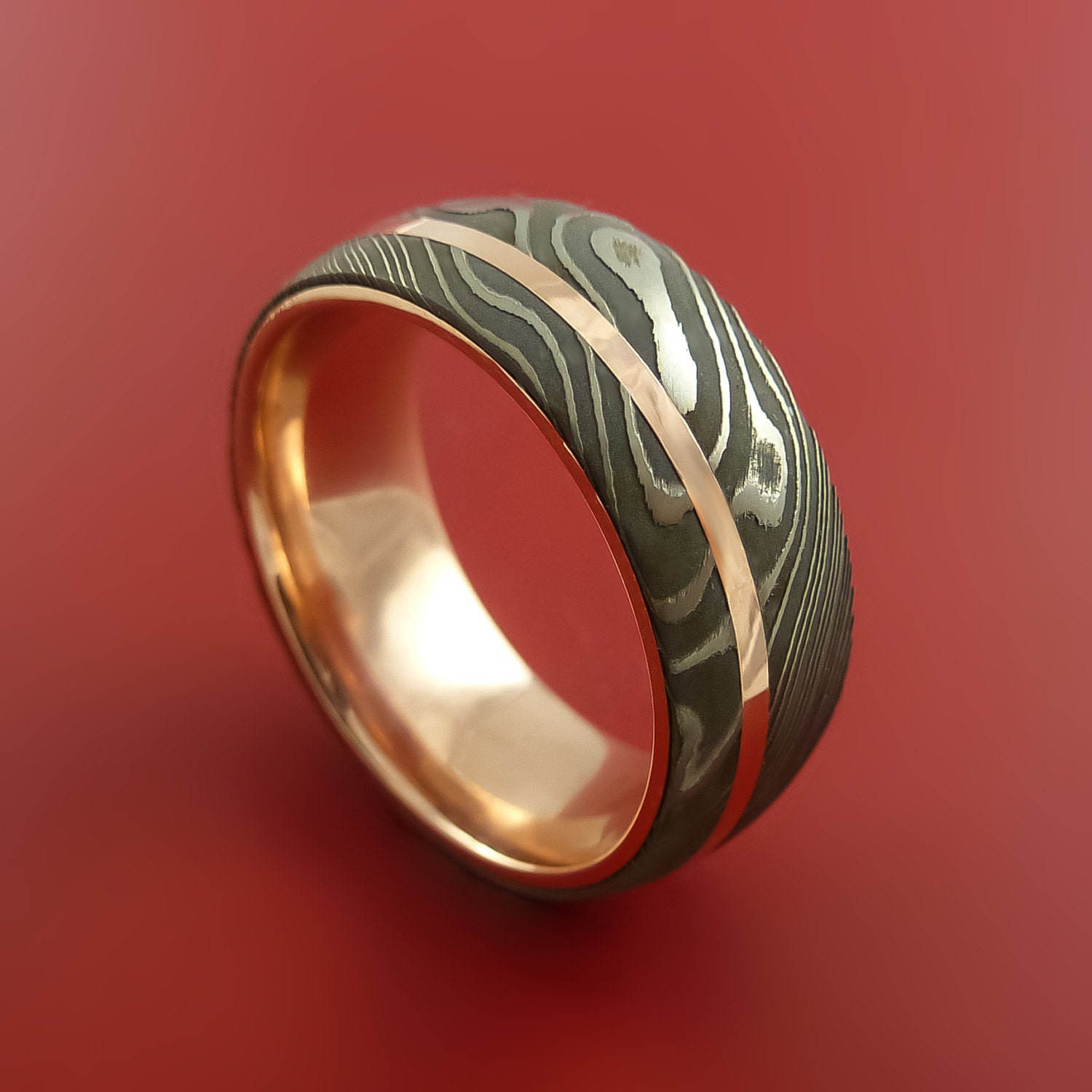 Damascus Steel 14K Rose Gold Ring Wedding Band Custom Made