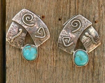 Sterling silver and turquoise earrings,  JS-er-005
