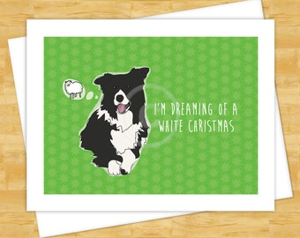 Dog Cards - Border Collie Dreaming of a White Christmas - Holiday Funny Christmas Cards