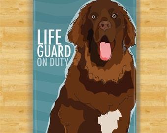Newfoundland Dog Magnet - Lifeguard on Duty - Brown Newfoundland Newfie Dog Gifts Refrigerator Fridge Magnets