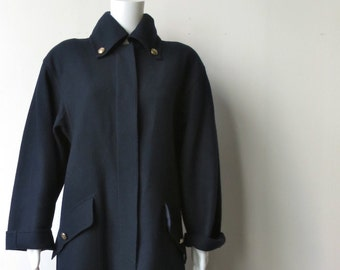 Chic 1970's Louis Feraud Navy Blue Wool Coat