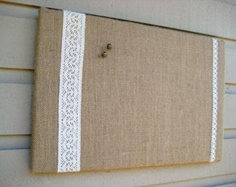Country Chic Burlap and Lace Bulletin Board, Photo Memory Board, Dorm Decor, French Memo Board, Wedding decor