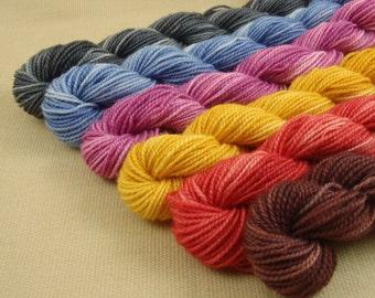 Mini Skeins Child's Play - Set of 6 - Hand Dyed Fingering Sock Weight Yarn - 100% Superwash Merino Wool