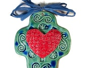 Mexican Cross with Stamped Heart Turquoise and Red