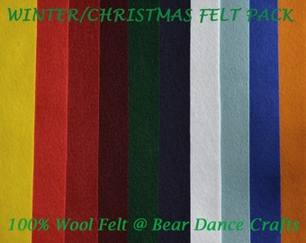 100% Wool Felt Pack Winter/Christmas Tones- Free Shipping in Canada