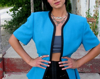 Vintage 1980s Short Sleeve ZIP front COLORBLOCK Jacket in Turquoise
