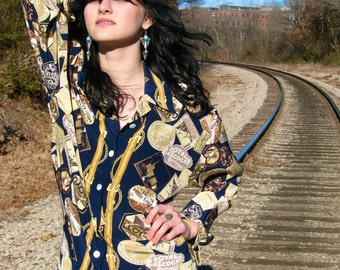 Vintage 1980s Gilded TRAVEL Print Slouchy Blouse