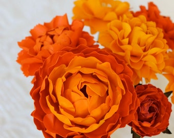 Orange Crush - MIX Flowers - Handmade Paper Flowers -Set of 12 - On stems - Made to Order - Customize your style and colors
